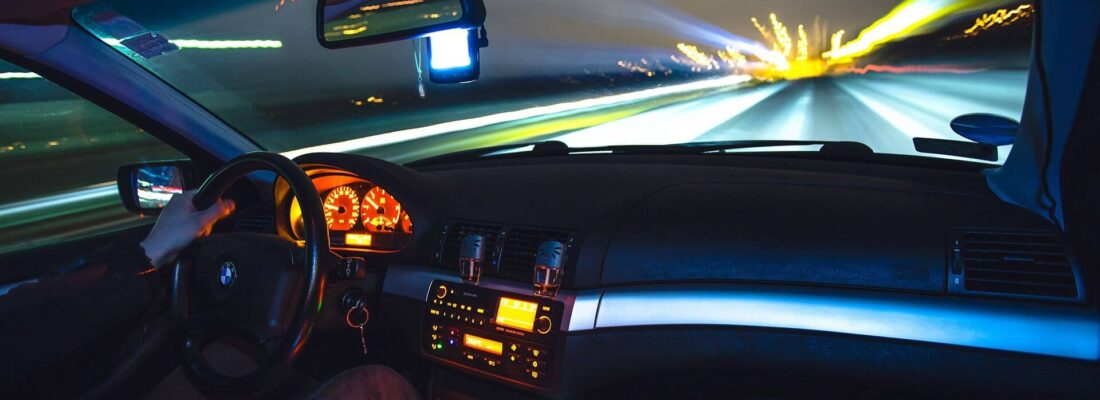 looking through windshield at night