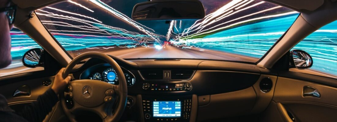looking through windshield while driving