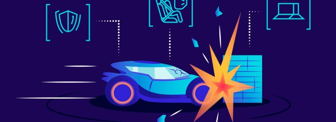 vector image of car hitting wall