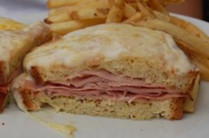 ham sandwich; ham between 2 slices of bread