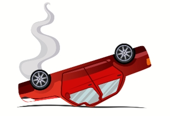 vector image of car rolled over